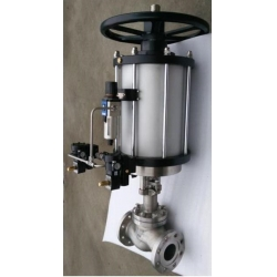Marine pneumatic stop check valve with manual device
