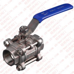 Marine three piece ball valve