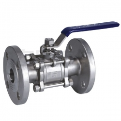 Marine three piece flanged ball valve